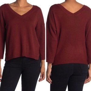 Madewell BNWT double vneck sweater NEW burgundy